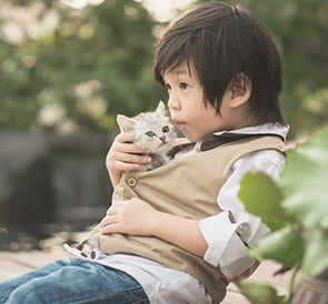 Young boy kissing kitten: Pet Surgery in Ames